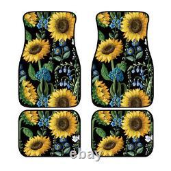 10PCS Sunflower Car Seat Covers+Steering Wheel Cover+Seat Belt& Armrest Pad Set