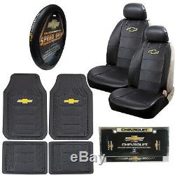 10pc CHEVY Car Truck Suv All Weather Floor Mats Seat Covers Steering Wheel Cover