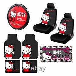 10pc Sanrio Hello Kitty Core Car Floor Mats Steering Wheel Cover & Seat Covers