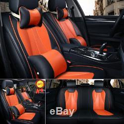 11PCS PU Leather Car Seat Cover Headrest+Protector Full Set 5-Seats Cushions SUV