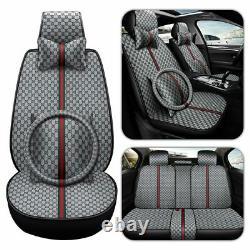 11pcs Luxury Auto Decor Car Seat Cover PU Leather Protector Front Rear Black Set