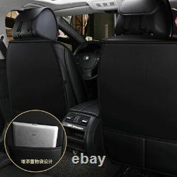 11pcs Luxury PU Leather Car Seat Covers Front&Rear Universal 5-Seats Car SUV US