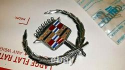 1972 1976 CADILLAC ELDORADO HOOD EMBLEM CREST WREATH and SPRING MOUNT