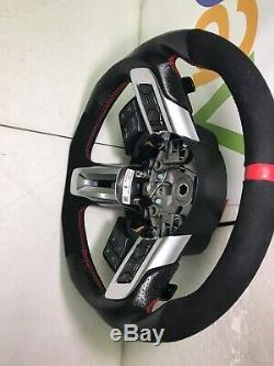 2015 2017 Mustang SVE X550 Steering Wheel Leather With Suede Red Stitching