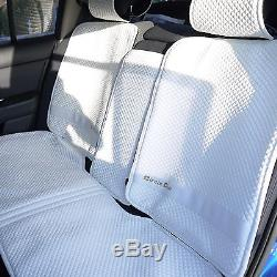 2016 White Seat Belt Cover Steering Wheel Shift Knob Front & Back Car Seat Cover