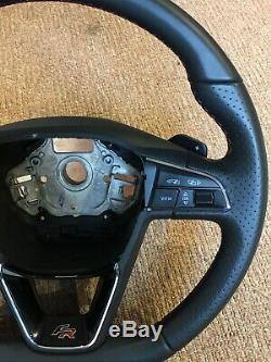 2017 Seat Leon Fr 5f Mk3 Red Stitching Dsg Paddleshift Steering Wheel Mint