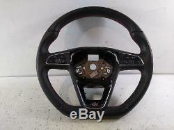 2017 Seat Leon Tdi Fr 5f0419091r 3 Spoke Leather Multifunction Steering Wheel