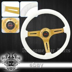 3 Spokes 6 Hole Luxury Gold Center White Wood Grain Trim Steering Wheel