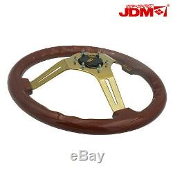 345mm Steel Center Gold Light Brown Wood Grain Grip Luxury Steering Wheel 6-Bolt