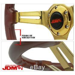 345mm Steel Center Gold Light Brown Wood Grain Grip Luxury Steering Wheel 6-Bolt