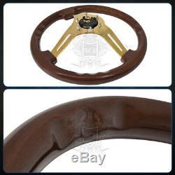 345mm Universal Jdm Heavy Duty Steel Center Steering Wheel Wood Grain Dark Brown