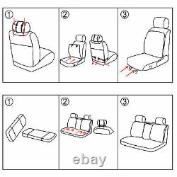 5 Car Seat Covers Full Set with Waterproof Leather Universal for Sedan SUV Truck