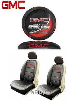 5 PC GMC Elite Seat Covers & Steering Wheel Cover Synth Leather Fast Shipping