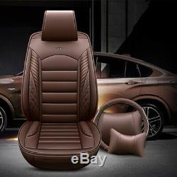 5-Seats Car Seat Covers Protector Luxury leather Cushions+Steering Wheel Cover