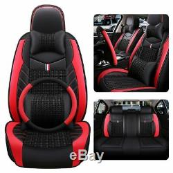 5-Sits Universal Car Seat Cover PU Leather Front Rear Accessories Sit Cushion US