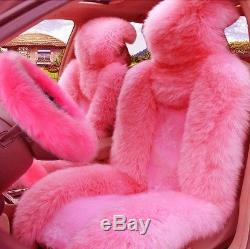 5Pcs Pink Wool Fur Car Seat Covers+Steering Wheel/Handbrake/Gear Shift Cover Kit