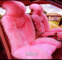 5pcs Plush Fur Car Seat Steering Wheel Gear Knob Parking Brake Cover Pink Set