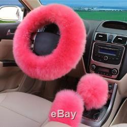 5pcs/set Pink Wool Fur 5-seat Car Seat Steering Wheel Gear Knob Brake Cover Warm