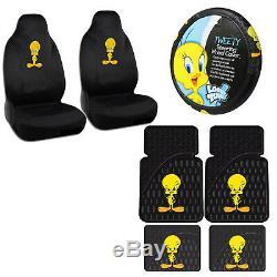 7PC Tweety Bird Classic Car Truck Floor Mats Seat Covers & Steering Wheel Cover