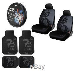 7pcs Star Wars Darth Vader Car Truck Seat Covers Floor Mats Steering Wheel Cover