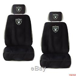 9PC NFL Oakland Raiders Car Truck Seat Covers Floor Mats & Steering Wheel Cover