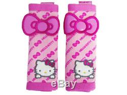 9PC Sanrio Hello Kitty Front Back Car Seat Covers Steering Wheel Cover Lot More