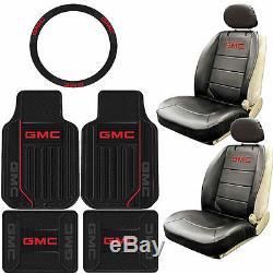 9pc Gmc Elite Original Black Rubber Floor Mats Airbag Seat Covers Steering Wheel