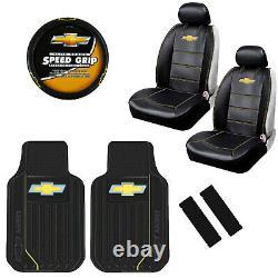 9pcs Chevy Elite Logo Car Truck Seat Covers Floor Mats Steering Wheel Cover Set