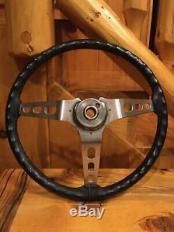 AMC Jeep CJ5 CJ7 FSJ Factory 3-Spoke Sport Steering Wheel Black Oem Original USA