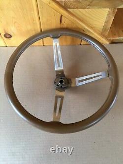 AMC Jeep CJ5 CJ7 FSJ Factory 3 Spoke Tan Leather Steering Wheel Original Oem USA