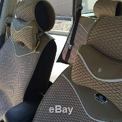 Beige Breathable Style Cloth Seat Cover Shift Knob Steering Wheel 43001b