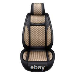 Beige Luxury PU Leather Car Seats Cover For Universal 5-Seats Auto +Cushions US