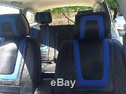 Black Blue Carbon Fiber Seat Cover Shift Knob Steering Wheel PVC Leather 34021b