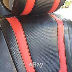 Black Carbon Red PVC Leather Car Seat Covers Steering Wheel Shift Knob Headrest