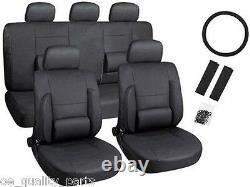 Black Leather Look Car Seat Covers Set Steering Wheel Cover Seat Belt Pads Sport