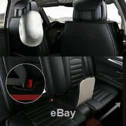 Black Luxury Car Seat Front+Rear+Steering Wheel Covers Full Set Cushion 5-Seats