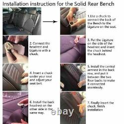 Black PU Leather&Linen Car Seat Cover Cushion Set Universal 5-Seat Front Rear