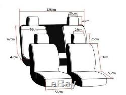 Black Seat Belt Cover Steering Wheel Shift Knob Front & Back Car Seat Cover Set