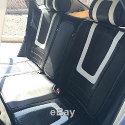 Black White Carbon Fiber Seat Cover Shift Knob Steering Wheel PVC Leather 34011b