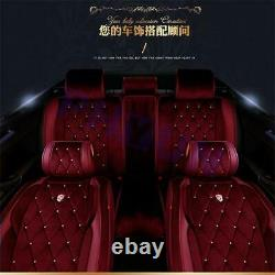 Bling Rhinestone Red Warm Plush Car Seat Pad & Steering Wheel Cover Universal US