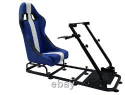Blue Driving Game Sim Chair Racing Seat Console PC F1 VR Steering Wheel Pedals