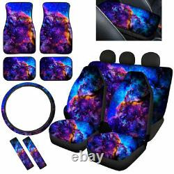 Blue Galaxy Car Seat Covers with Floor Mats, Steering Wheel Cover Seat Belt Pads