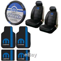 Blue Mopar Car Truck Front Back Floor Mats / Seat Covers / Steering Wheel Cover