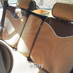 Breathable Cloth Seat Cover Cushion Shift Knob Steering Wheel Light Brown 44001a