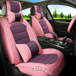 Car Seat Cover Pink Leather Protector Full Set Front Rear Universal For Women US