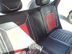 Car Seat Cover Set Shift Knob Belt Steering Wheel Black & Red PVC Leather 33061a
