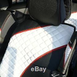 Car Seat Cover Set Shift Knob Belt Steering Wheel Black White PVC Leather 33031a