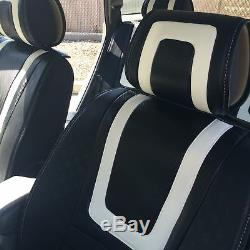 Carbon & White PVC Leather Car Seat Covers Steering Wheel Shift Knob Headrest