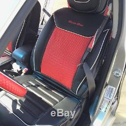 Cool Red PVC Leather Car Seat Cover Set Combo Headrest Steering Wheel Shift Knob