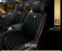 Deluxe Bling Rhinestone Car Seat & Steering Wheel Cover Black PU Leather Pad USA